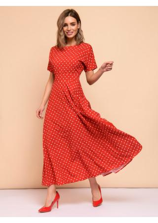 Платье красное в горошек с короткими рукавами
