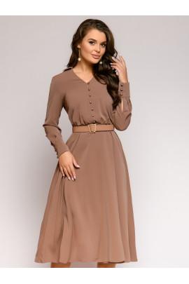 Платье цвета мокко длины миди с длинными рукавами и декоративным узлом