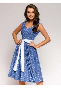 Платье синее с мелким принтом и поясом