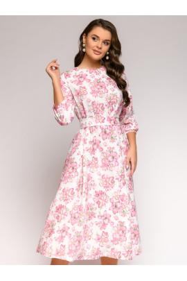 Платье белое с принтом свободного кроя длины миди