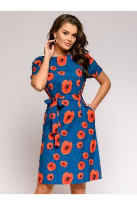 Платье цвета морской волны прямого силуэта с цветочным принтом и поясом