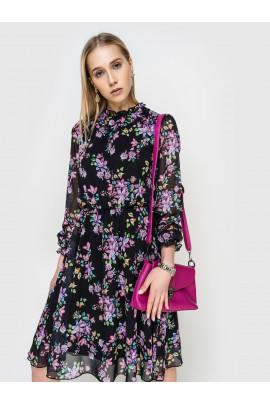 Платье шифоновое черное с цветочным принтом