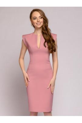 Платье-футляр цвета пыльной розы без рукавов