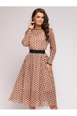 Платье бежевое в горошек с фатином и длинными рукавами