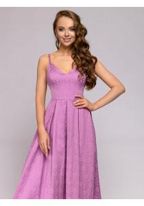 Платье лавандового цвета длины макси на бретелях
