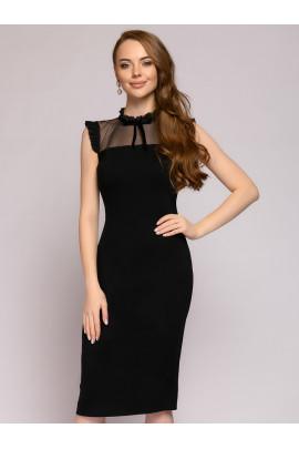 Платье-футляр черное с отделкой из фатина