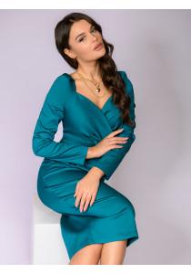 Платье-футляр цвета морской волны длины миди с глубоким вырезом