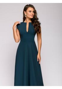 Платье цвета изумруд длины макси с глубоким декольте