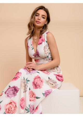 Платье белое длины макси с цветочным принтом и глубоким вырезом