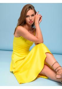 Платье желтое длины миди на бретелях с глубоким вырезом
