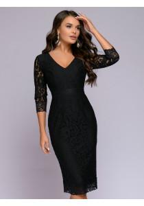 Платье черное кружевное длины миди с глубоким вырезом