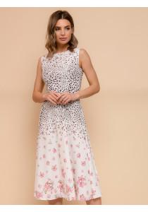 Платье белое с цветочным принтом длины миди без рукавов