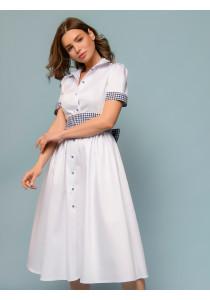 Платье длины миди белое с отложным воротником
