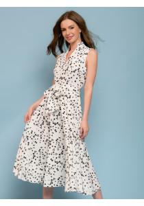 Платье белое с цветочным принтом длины миди без рукавов c V-образным вырезом