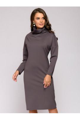 Платье-свитер цвета мокко длины миди