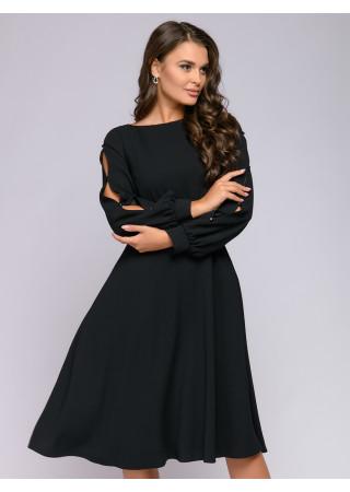 Платье черное с завышенной талией и оригинальными рукавами
