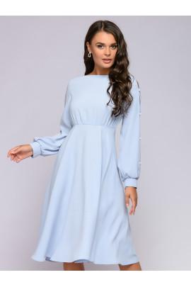 Платье серо-голубое с завышенной талией и оригинальными рукавами