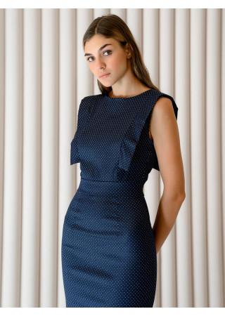 Платье-футляр черное длины миди с декоративной отделкой