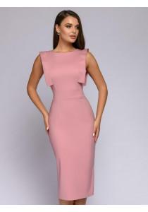 Платье-футляр розовое длины миди с декоративной отделкой