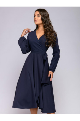 Платье темно-синее длины миди с запахом и длинными рукавами