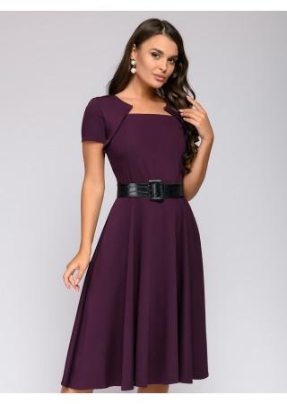 Платье бордового цвета длины миди с фантазийным воротом