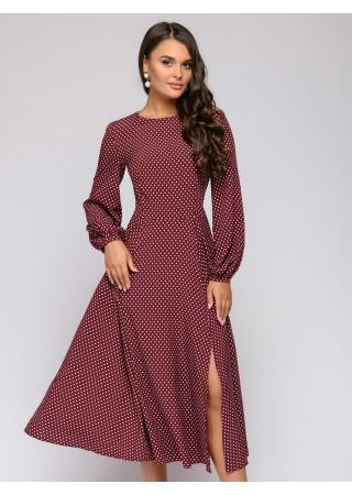 Платье длины миди бордовое в горошек с пышными рукавами