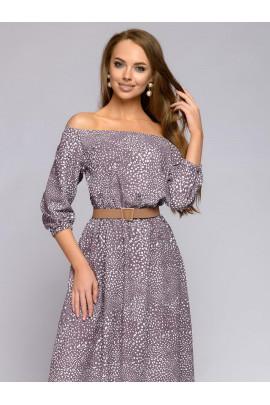 Платье цвета мокко с мелким принтом и пышными рукавами