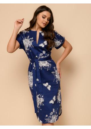Платье-рубашка темно-синего цвета с принтом и короткими рукавами