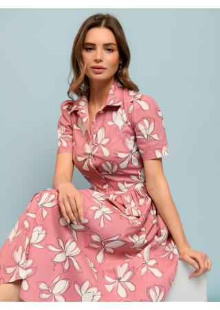 Платье длины миди розовое с принтом и отложным воротником