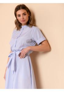 Платье длины миди в полоску с короткими рукавами