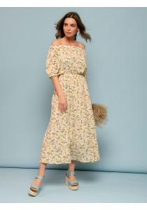 Платье ванильного цвета с цветочным принтом и пышными рукавами