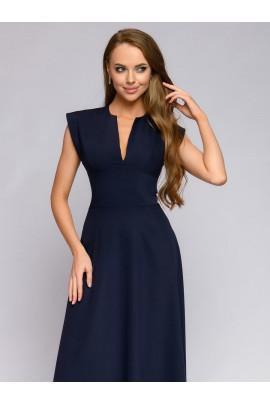 Платье синее длины макси с глубоким декольте