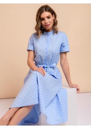 Платье голубое длины миди в горошек с короткими рукавами