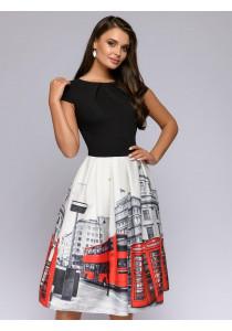 Платье длины миди с принтом на юбке и черным топом