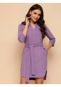 Платье-рубашка сиреневое длины мини с поясом