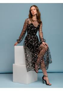Платье черного цвета длины миди с вышивкой