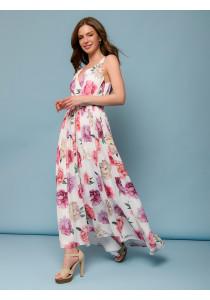 Платье белого цвета с цветочным принтом на бретелях