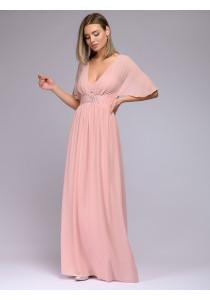 """Платье розовое длины макси с рукавами """"летучая мышь"""""""