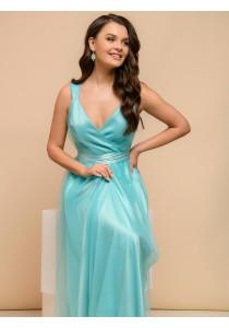 Платье мятного цвета на бретелях с мягким фатином