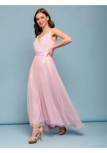 Платье розового цвета с серебряным напылением на бретелях