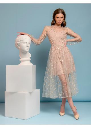 Платье кремового цвета длины миди с вышивкой