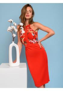 Платье красное с вышивкой без рукавов