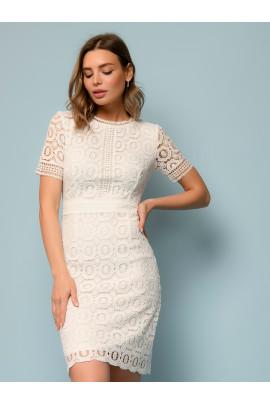 Платье белое кружевное с короткими рукавами