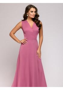 Платье ягодного цвета длины макси с глубоким вырезом без рукавов