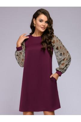 Платье цвета марсала свободного силуэта с кружевными рукавами