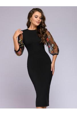 """Платье черное длины миди с рукавами """"фонарик"""" из фатина"""