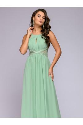 Платье длины макси зеленое с кружевной отделкой