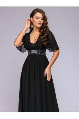 """Платье черное длины макси с рукавами """"летучая мышь"""""""