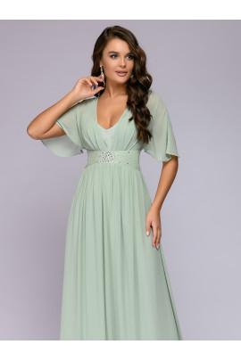 """Платье фисташкового цвета длины макси с рукавами """"летучая мышь"""""""