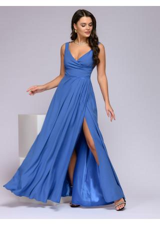 Платье светло-синее длины макси с разрезом на юбке